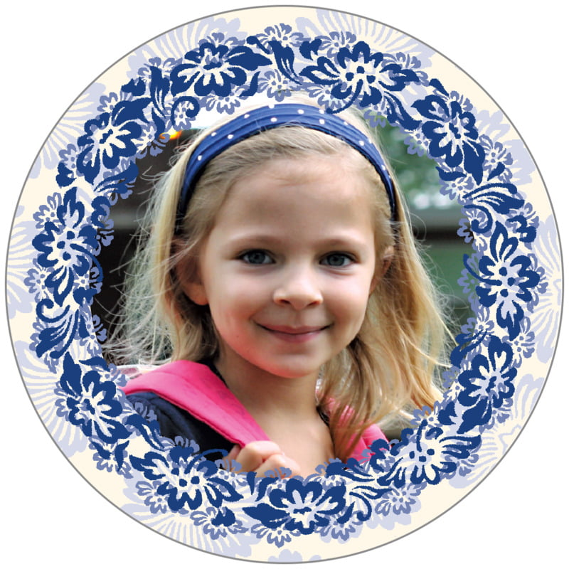 circle photo labels - deep blue - leilani (set of 20)