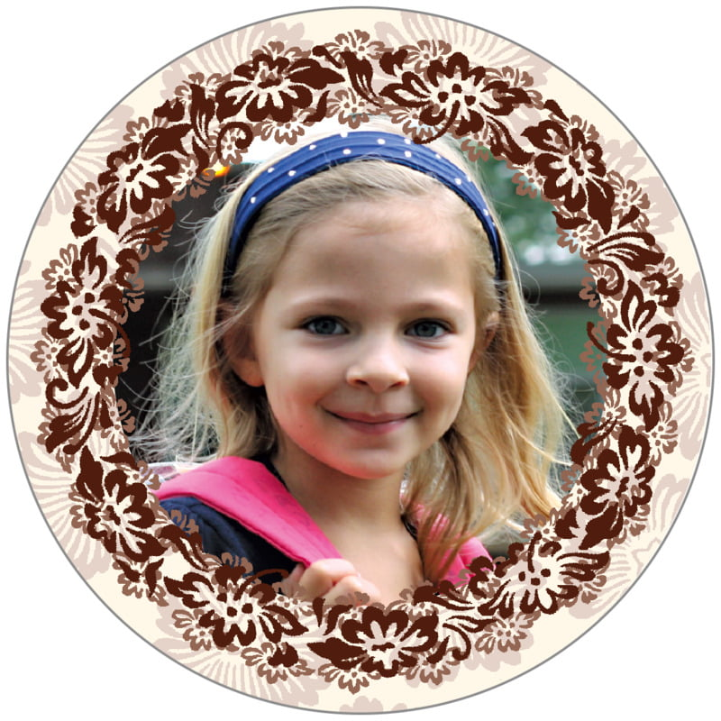 circle photo labels - chocolate - leilani (set of 20)