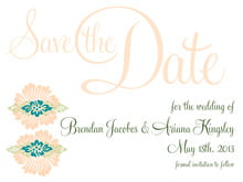 custom save-the-date cards - turquoise & alpenglow - leilani (set of 10)