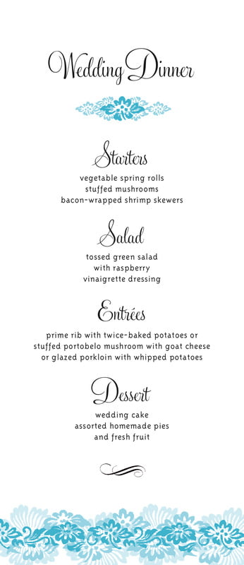 custom menus - sky - leilani (set of 10)