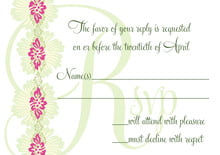 custom response cards - pink & island green - leilani (set of 10)
