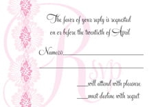 custom response cards - pale pink - leilani (set of 10)
