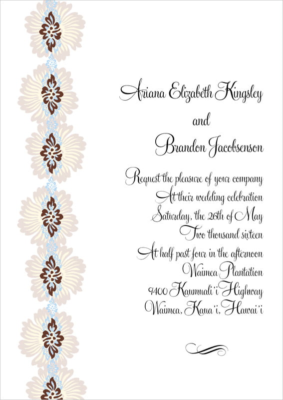 custom invitations - powder blue & cocoa - leilani (set of 10)