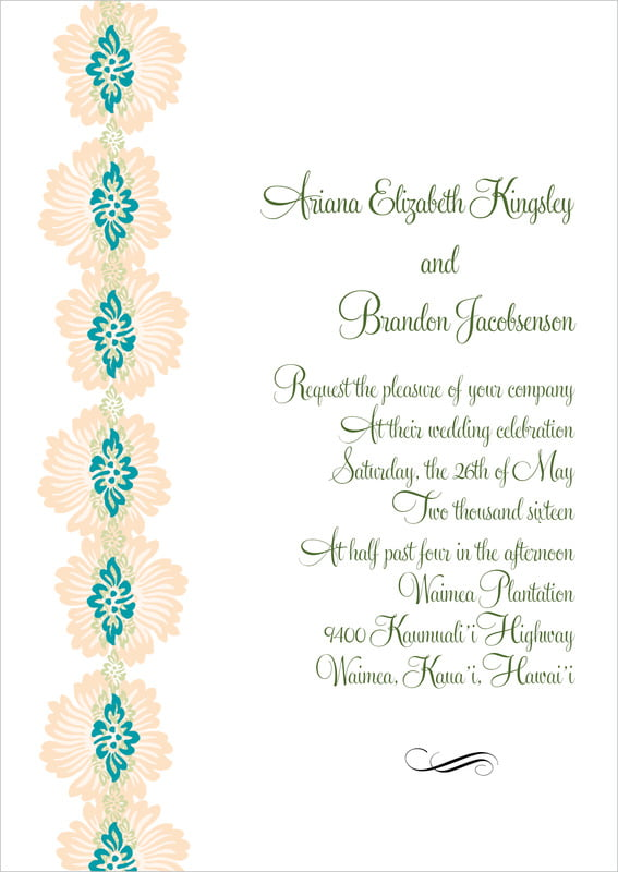 custom invitations - turquoise & alpenglow - leilani (set of 10)