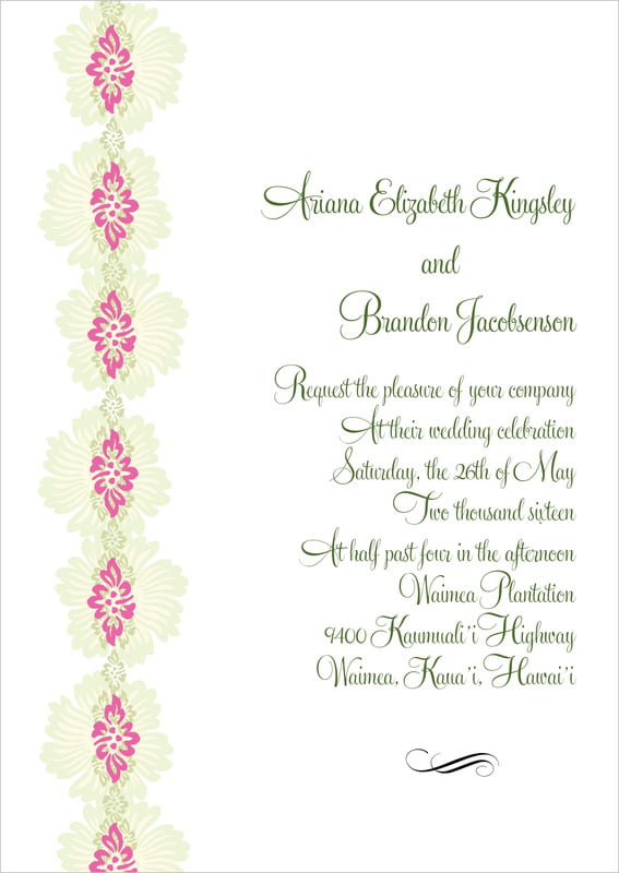 custom invitations - pink & island green - leilani (set of 10)