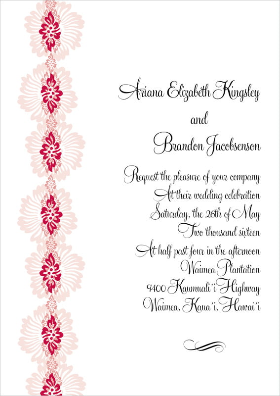 custom invitations - deep red - leilani (set of 10)