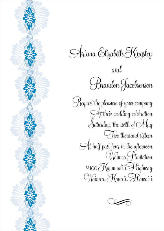 custom invitations - blue - leilani (set of 10)