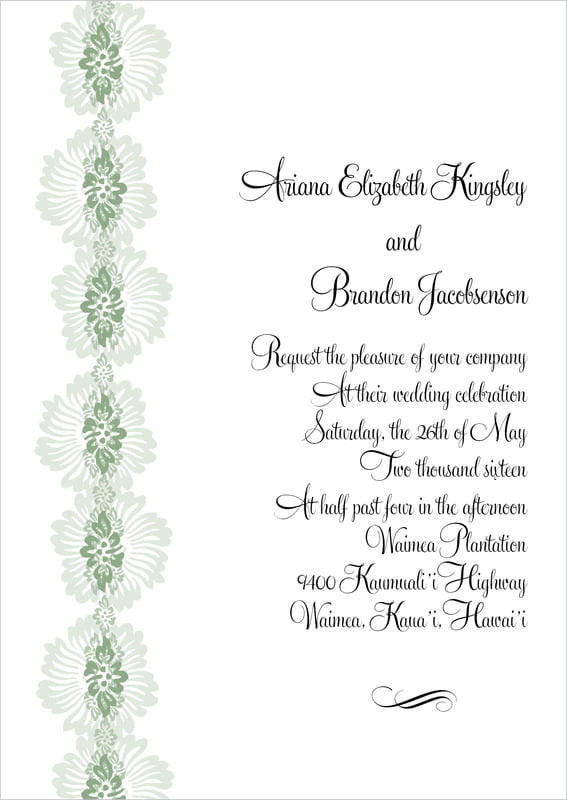 custom invitations - sage - leilani (set of 10)