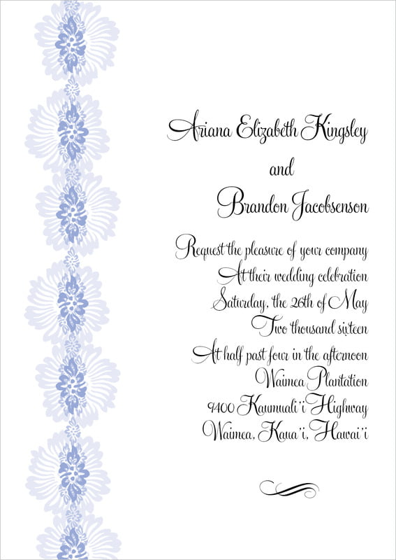 custom invitations - periwinkle - leilani (set of 10)