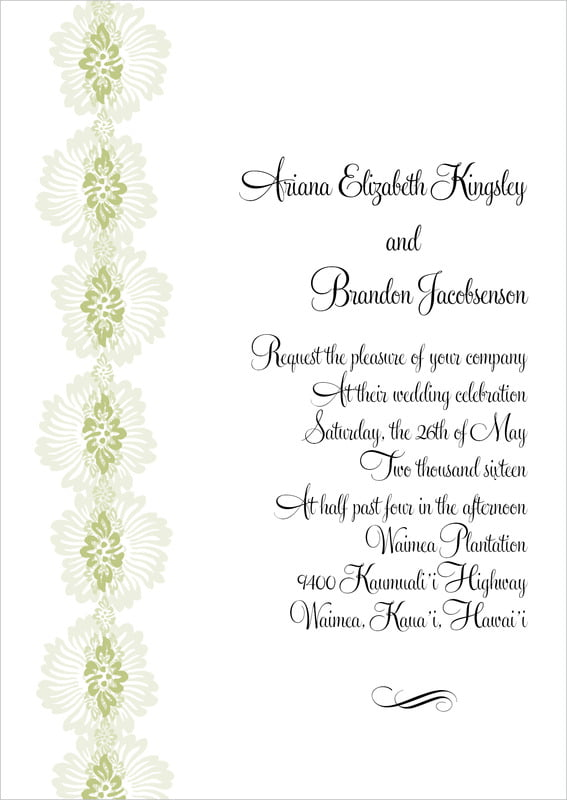 custom invitations - green tea - leilani (set of 10)