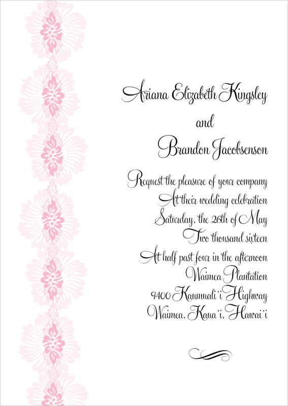 custom invitations - pale pink - leilani (set of 10)