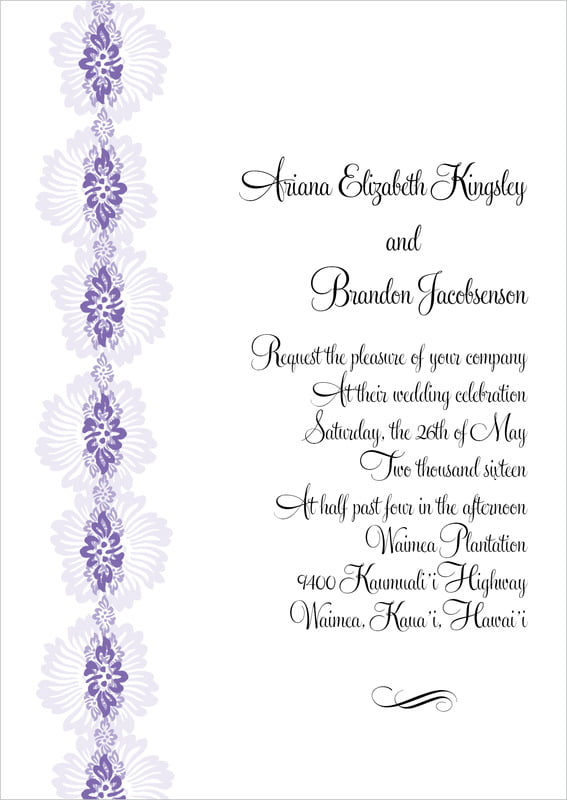 custom invitations - lilac - leilani (set of 10)