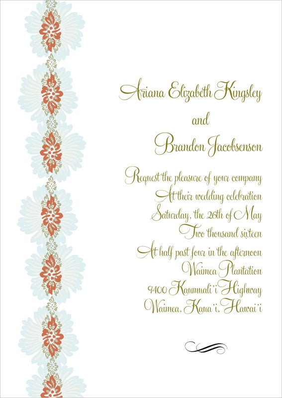 custom invitations - spice & ocean - leilani (set of 10)
