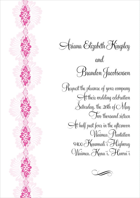 custom invitations - bright pink - leilani (set of 10)