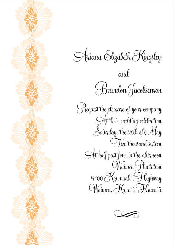 custom invitations - tangerine - leilani (set of 10)