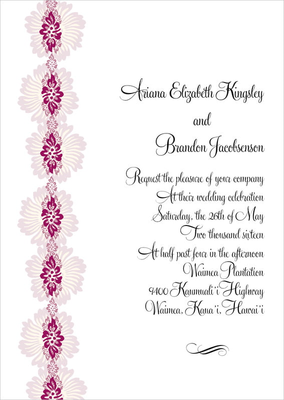 custom invitations - burgundy - leilani (set of 10)