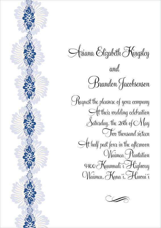 custom invitations - deep blue - leilani (set of 10)