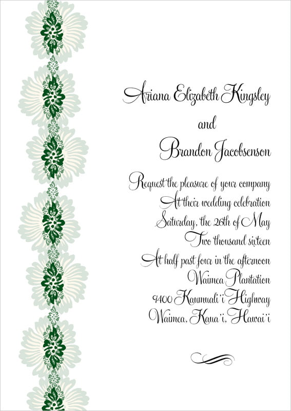 custom invitations - deep green - leilani (set of 10)