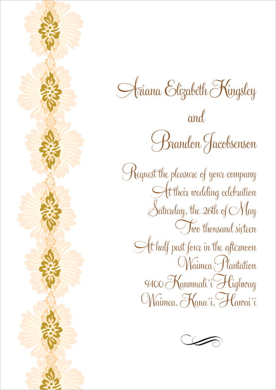 custom invitations - antique gold & sand - leilani (set of 10)
