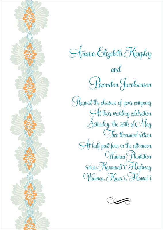 custom invitations - melon & bay - leilani (set of 10)
