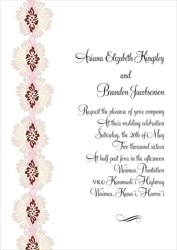 custom invitations - cocoa & pink - leilani (set of 10)