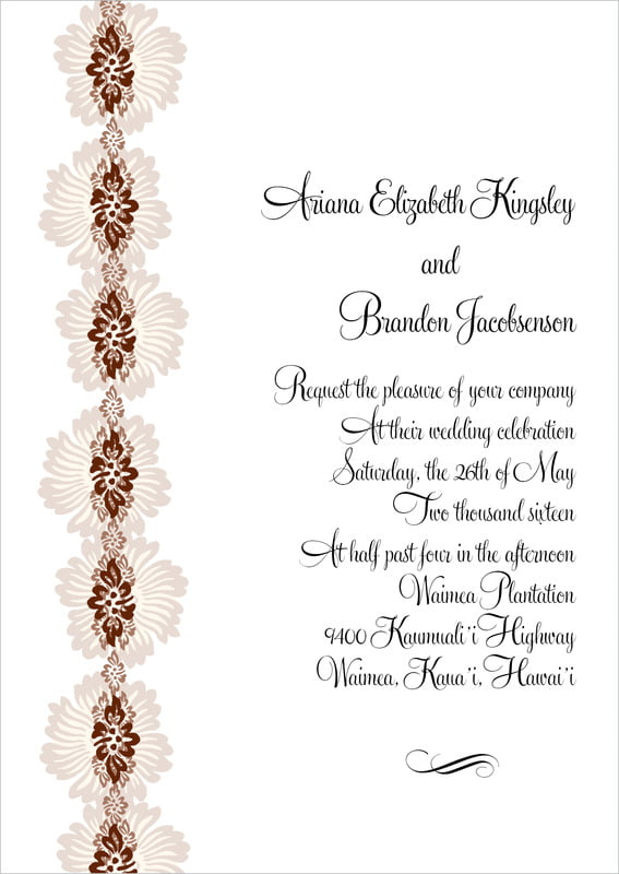 custom invitations - chocolate - leilani (set of 10)
