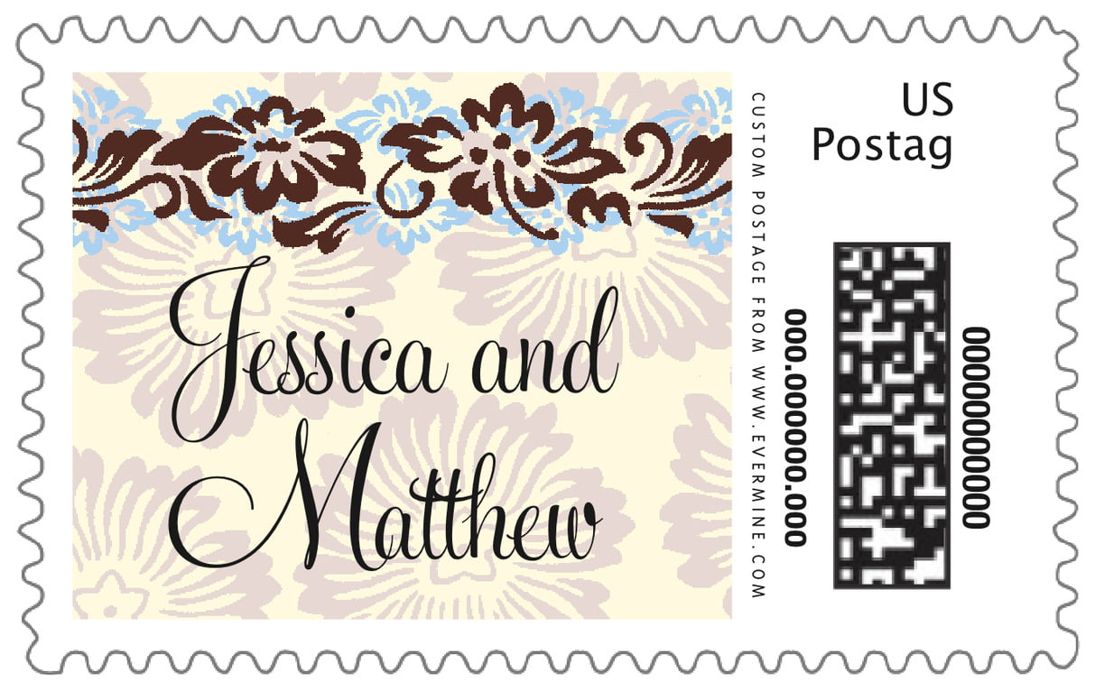 custom large postage stamps - powder blue & cocoa - leilani (set of 20)