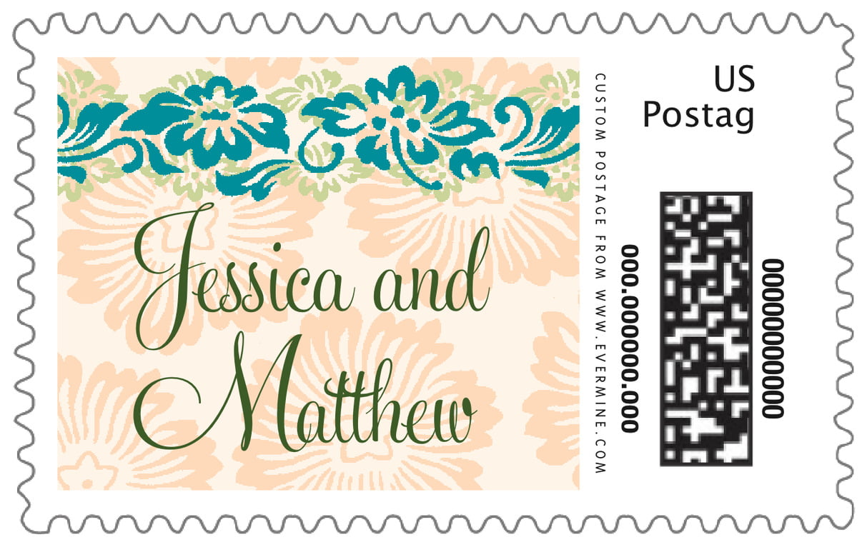 custom large postage stamps - turquoise & alpenglow - leilani (set of 20)