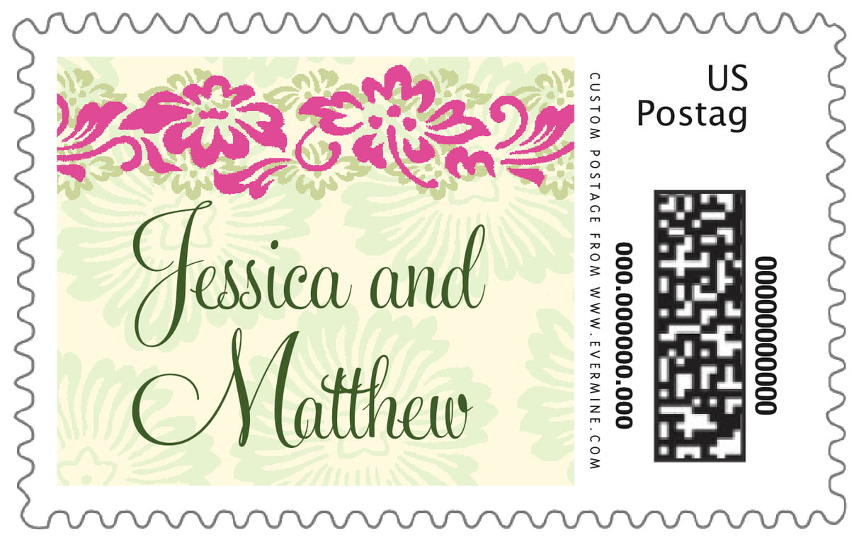 custom large postage stamps - pink & island green - leilani (set of 20)