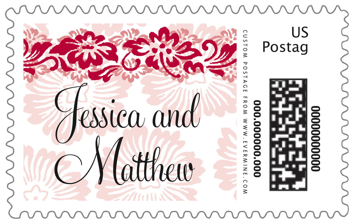 custom large postage stamps - deep red - leilani (set of 20)