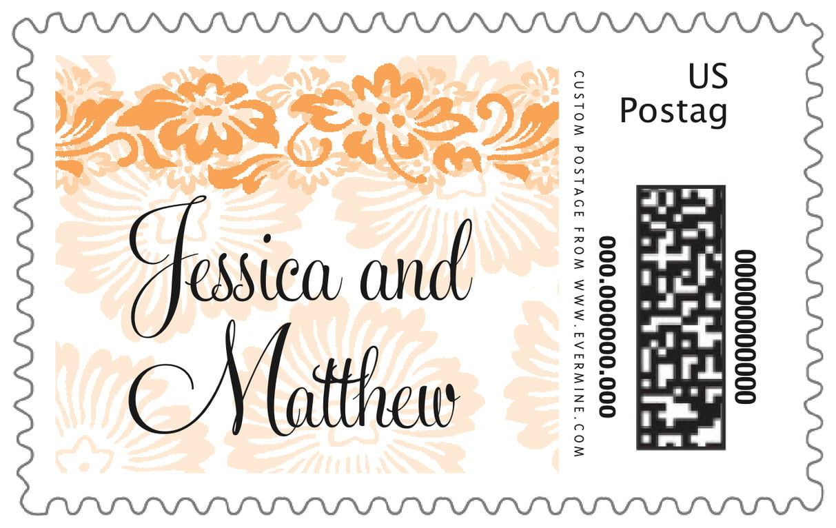 custom large postage stamps - tangerine - leilani (set of 20)