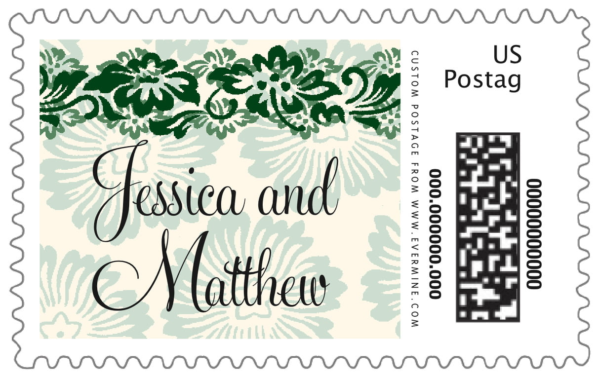 custom large postage stamps - deep green - leilani (set of 20)