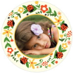 Lady Bug Circle Photo Label In Tangerine