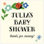 Lady Bug baby shower labels