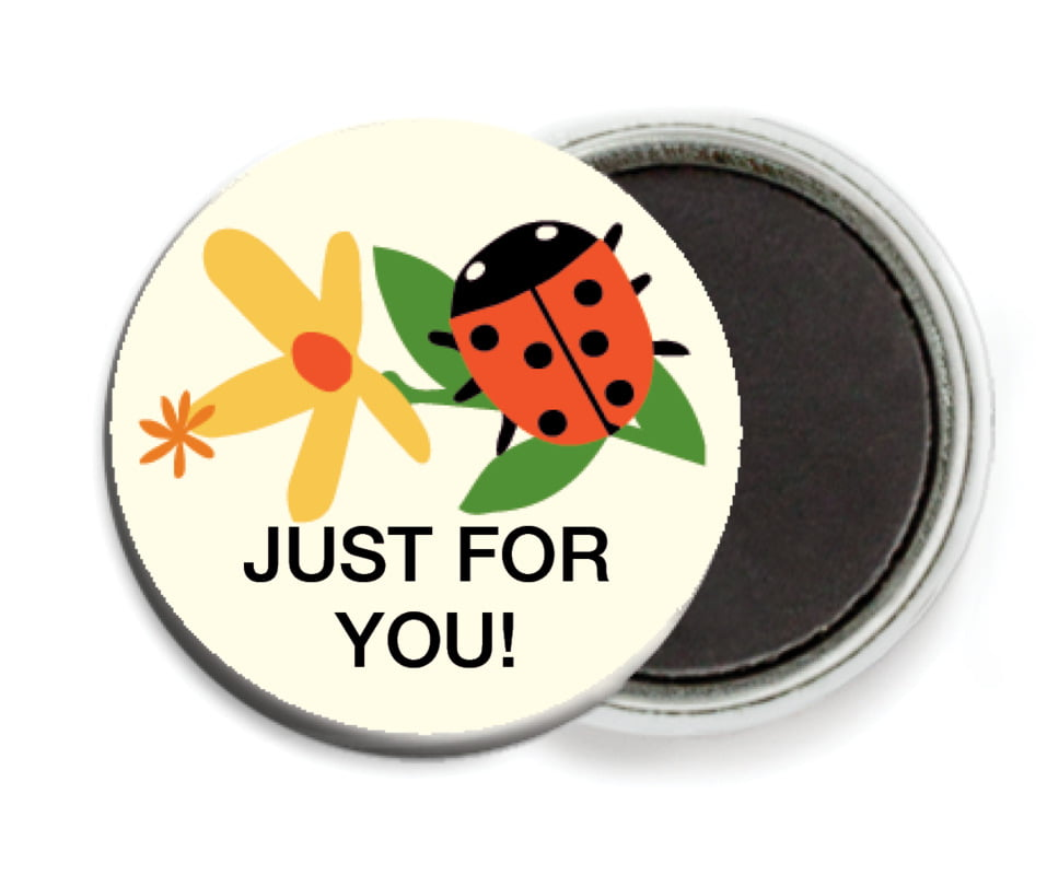 custom button magnets - tangerine - lady bug (set of 6)