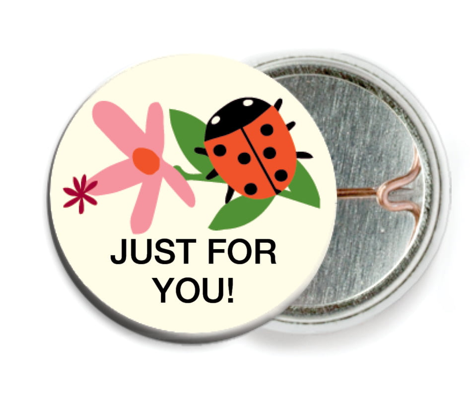 custom pin back buttons - pink - lady bug (set of 6)