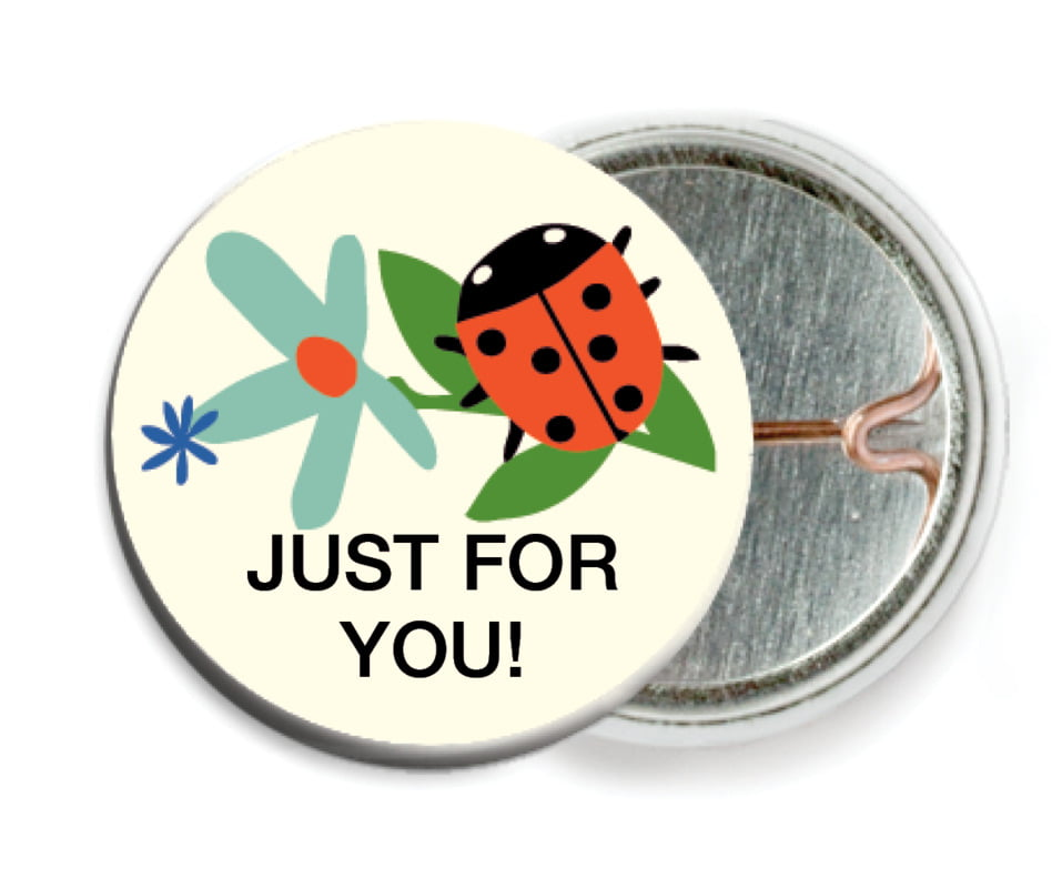 custom pin back buttons - aruba - lady bug (set of 6)