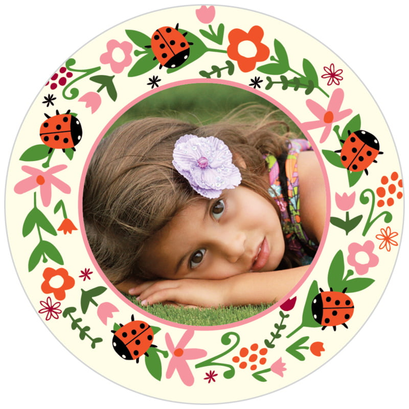 circle photo labels - pink - lady bug (set of 20)