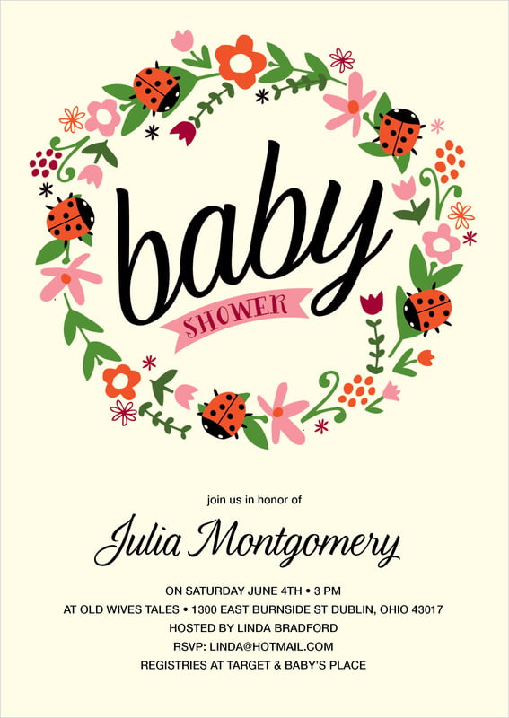 baby shower invitations - pink - lady bug (set of 10)