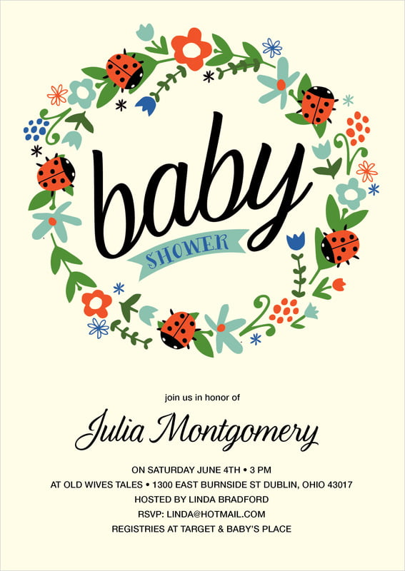 baby shower invitations - aruba - lady bug (set of 10)