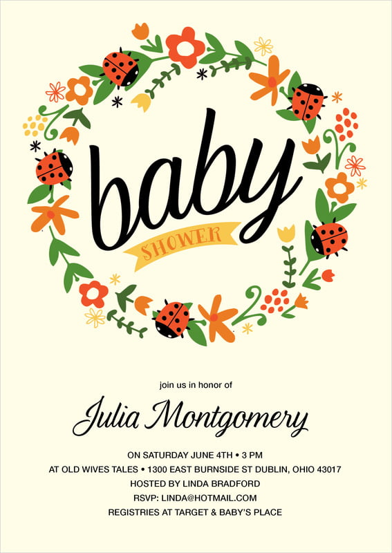 baby shower invitations - tangerine - lady bug (set of 10)