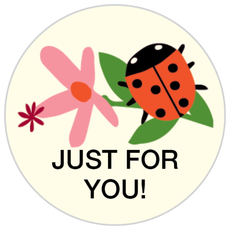 small circle food/craft labels - pink - lady bug (set of 70)