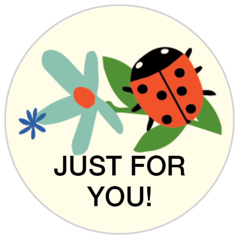 small circle food/craft labels - aruba - lady bug (set of 70)