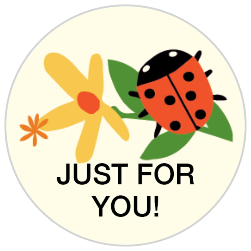 small circle food/craft labels - tangerine - lady bug (set of 70)