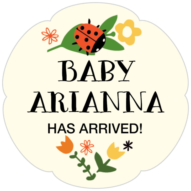 petal food/craft labels - tangerine - lady bug (set of 30)