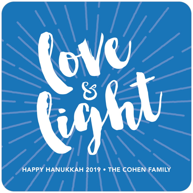 square holiday coasters - cobalt - love & light (set of 12)