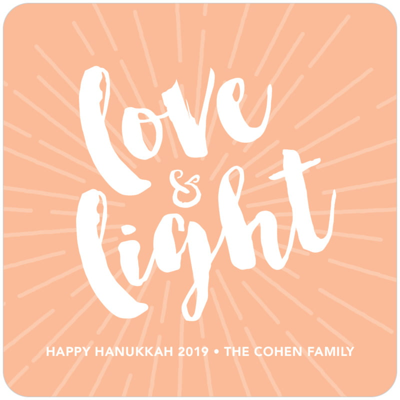 square holiday coasters - peach - love & light (set of 12)