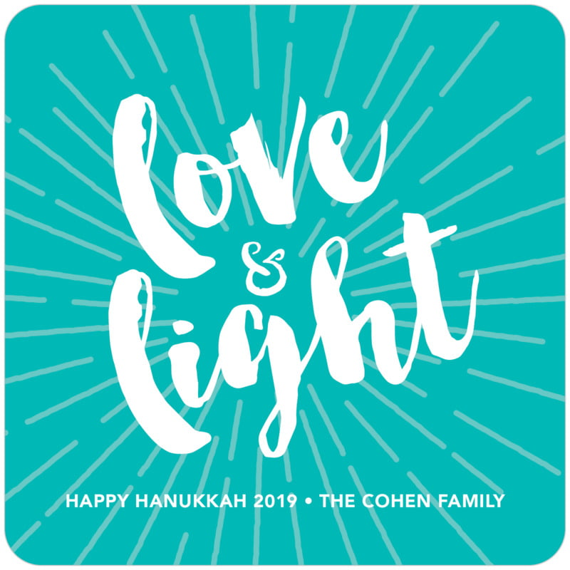 square holiday coasters - turquoise - love & light (set of 12)