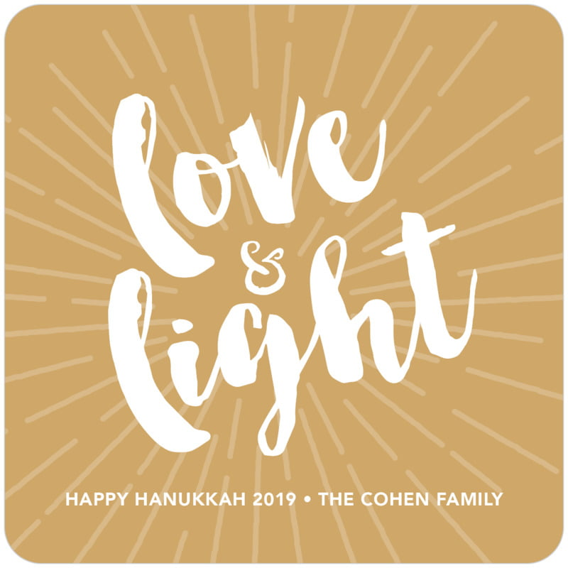 square holiday coasters - deep gold - love & light (set of 12)