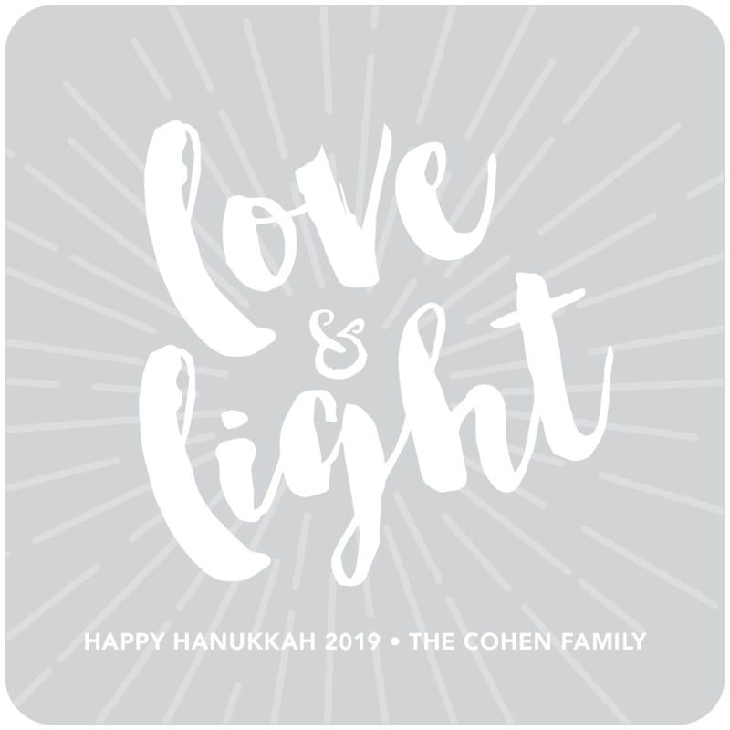 square holiday coasters - light grey - love & light (set of 12)